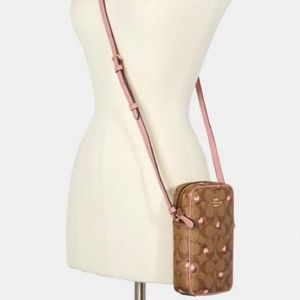 🌸Coach North/South Heart Floral Zip Crossbody
